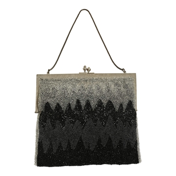 Vintage 1940s Beaded Evening Black Bag