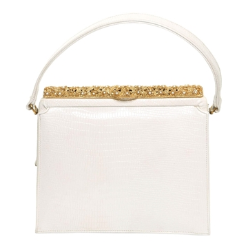 Vintage 1950's Simulated Python White Bag