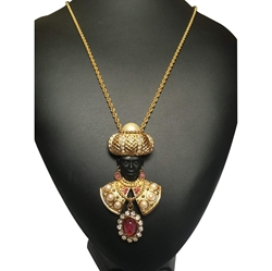 Dior Blackamoor Red Vintage Necklace & Earrings Set
