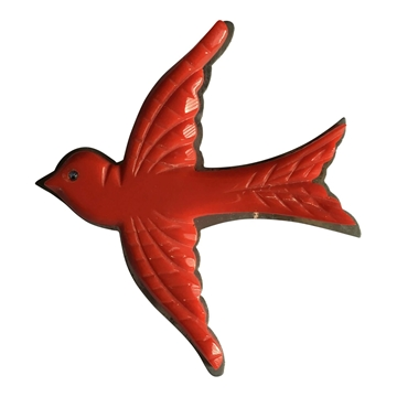 Vintage Bird Art Deco Style Red Brooch