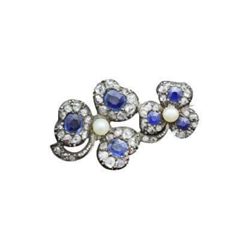 Antique 19th Century Irish Pearl, Sapphire and Diamond Shamrock Brooch