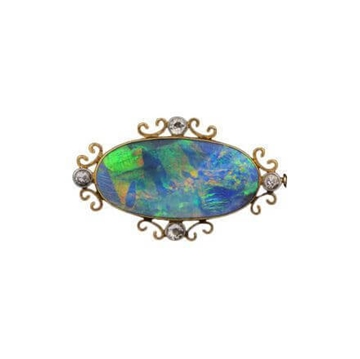 Antique Edwardian Opal Brooch