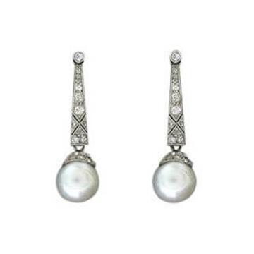 Antique Edwardian diamond and pearl earrings