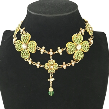 Carlo Zini Four Leaf Clover Green Vintage Necklace