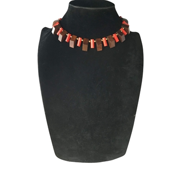 Vintage 1950's Plastic & Wood Art Deco Style Red Necklace