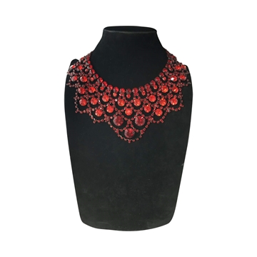 Larry Vrba Collar & Clip-on Red Vintage Necklace & Earrings Set