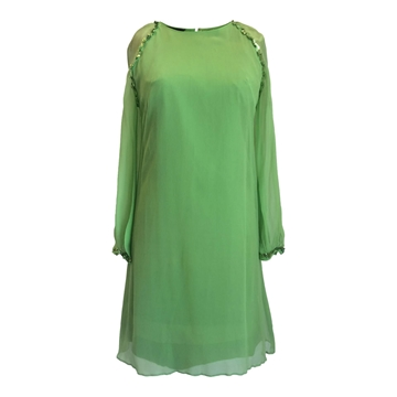 Simon Massey 1960s silk & sequins lime green vintage dress