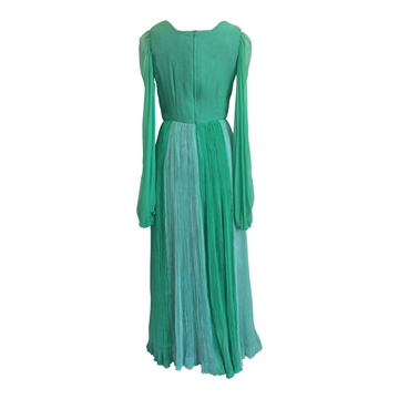 Lachasse 1970s chiffon pleated green vintage maxi dress
