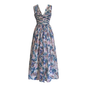 Vintage 1950s A-line floral full length vintage dress