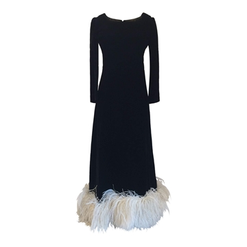 Vintage 1960's Velvet & Ostrich black Evening Dress