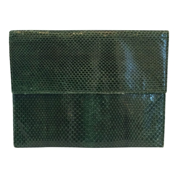 Vintage 1970s snakeskin green clutch purse