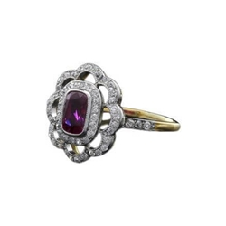 Antique Edwardian ruby and diamond floral ring