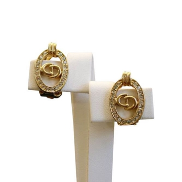 Christian Dior 1980s Logo Diamante Gold Vintage Earrings