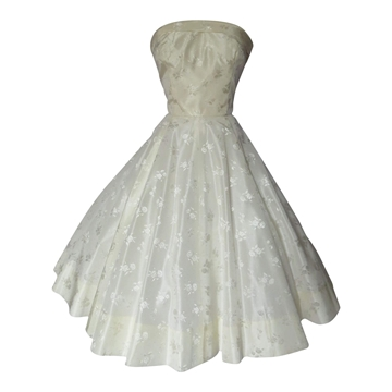 Vintage 1950s Satin Damask Strapless Prom Cream Dress