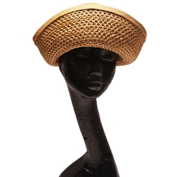 Harvey Nichols 1970s black ribbon & Straw vintage Hat