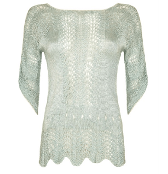 Vintage 1920s Crochet green Jumper