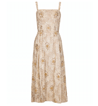Vintage 1950s Sequinned Cream & Gold Dress