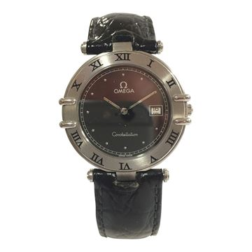 Omega Contstellation black dial and stainless steel with extended shoulders ladies vintage watch