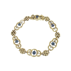 Antique Edwardian Sapphire and Pearl Gold Link Bracelet