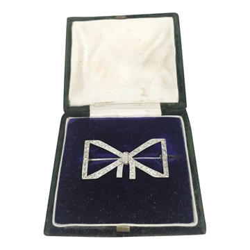 Antique Edwardian Geometric Bow Diamond Brooch
