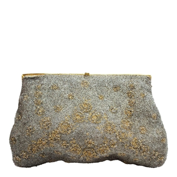 Vintage 1950s beaded silver & gold bag