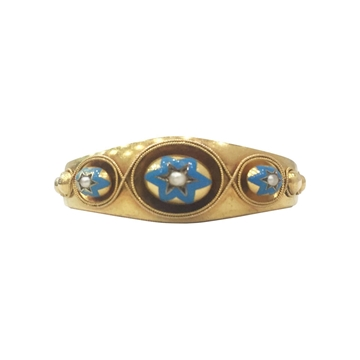 Antique late Victorian blue enamel & pearl bangle style gold bracelet