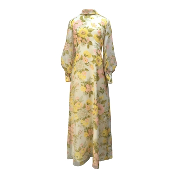 Vintage 1970s Floaty Floral Maxi Yellow Dress