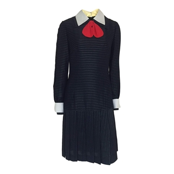 Vintage 1960s pinstripe & bow detail navy dress