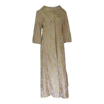 Vintage 1950s damask gold evening coat