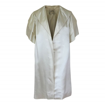 Vintage 1950s satin white evening coat