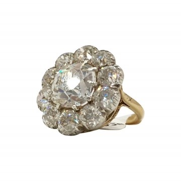Antique Late Victorian diamond set cluster ring