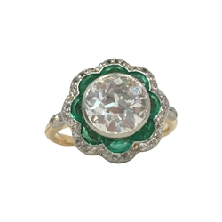 Antique Edwardian Diamond & Emerald Flower Ring