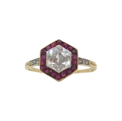Antique Edwardian diamond & ruby Hexagonal ring