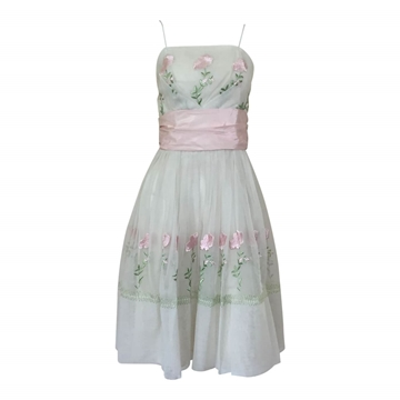 Vintage 1950s embroidered chiffon dress