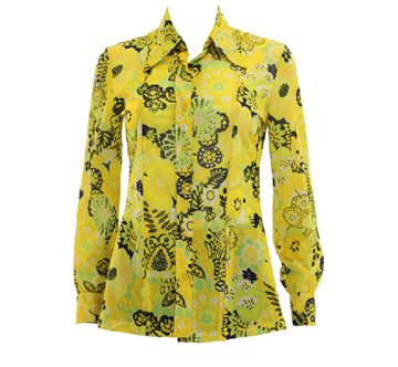 Vintage 1960s patterned yellow shirt