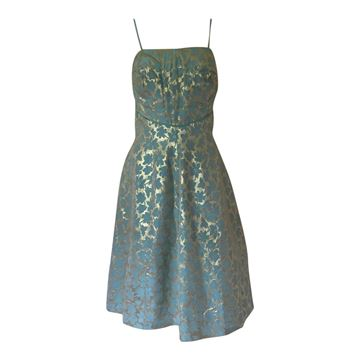 Vintage 1950s floral turquoise & gold cocktail dress