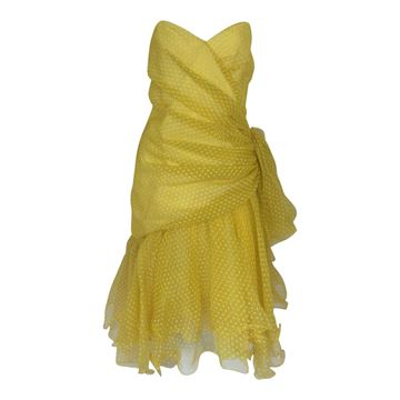 Frank Usher 1980s  polka dot yellow vintage cocktail dress