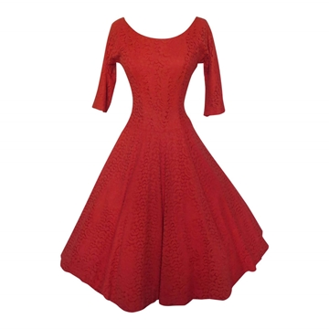 Vintage 1950s Lace Prom Red Dress