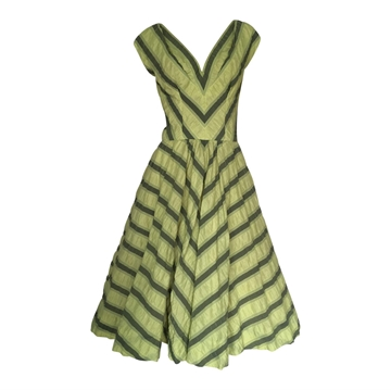 Vintage 1950's Seersucker green stripe Day Dress