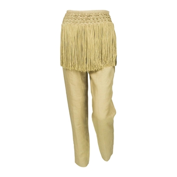 Valentino 1990s Linen Fringed tan vintage Trousers