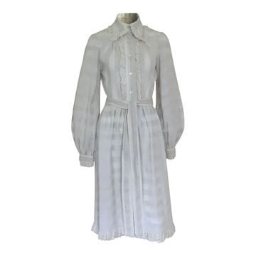Jean Varon 1970s cotton crochet vintage day dress