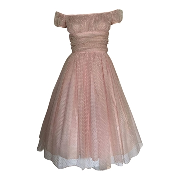 Vintage 1950's Pretty Pink organza Prom Dress