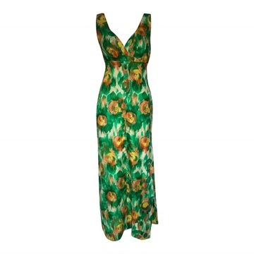 Vintage 1950's Silk Floral Print green dress
