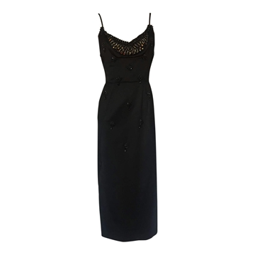 Vintage 1950's Black Beaded Satin Dress