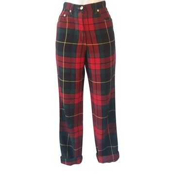 Moschino 1980s Se Ne Importa (Who Cares) Tartan Red Vintage Jeans