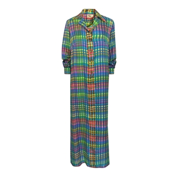 Vintage 1970s colourful silk print maxi dress