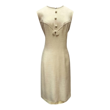 Vintage 1950s Soft Woven Fabric Cream Dress