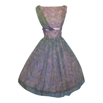 Vintage 1960s Floral Prom Purple Dress