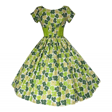 Vintage 1950s Printed Cotton Prom Green Dress