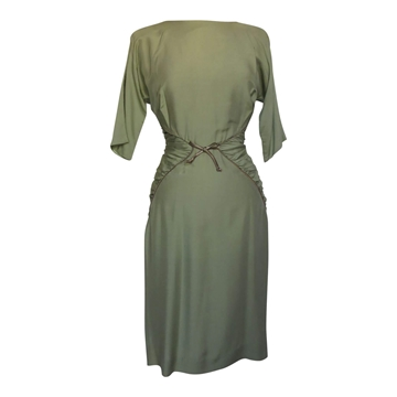 Vintage 1950s Ruched Cocktail Green Dress